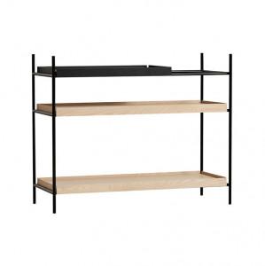 Etajera neagra/maro din lemn de stejar si metal 81 cm Tray Shelf Woud