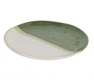 Farfurie alba/verde din ceramica 28,4 cm Naara Kave Home