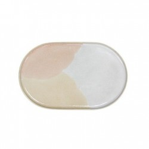 Farfurie ovala din ceramica roz si crem Gallery Side HK Living