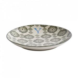 Farfurie pentru desert multicolora din ceramica 20 cm Y Letter Nordal