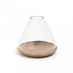 Felinar din sticla si lemn 15 cm Cyra Kave Home