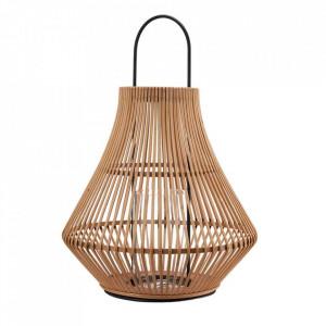 Felinar maro din bambus si fier 57 cm Striped Pols Potten