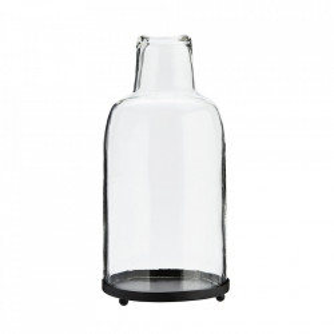 Felinar negru/transparent din fier si sticla 30 cm Lara Madam Stoltz