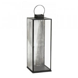 Felinar transparent/negru din fier si sticla 58 cm Reid Nordal