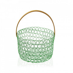 Fructiera verde/maro din metal si ratan Green Fruit Bowl Versa Home