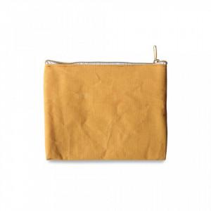 Geanta galbena din bumbac si poliester pentru cosmetice Pouch Honey Opjet Paris