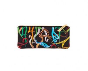 Geanta multicolora din poliester si poliuretan 9x21 cm pentru cosmetice Snakes Toiletpaper Seletti