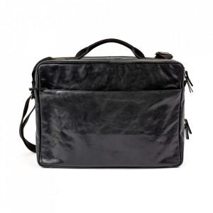 Geanta neagra din piele pentru laptop 30x42 cm Ales Serax