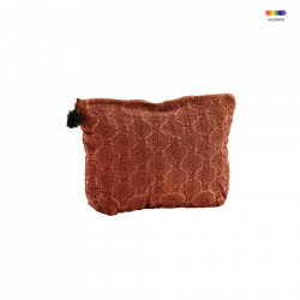 Geanta rosie din in si bumbac 20x30 cm pentru cosmetice Embroidered Bag Paprika Madam Stoltz