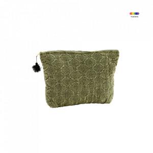 Geanta verde din in si bumbac 20x30 cm pentru cosmetice Embroidered Bag Olive Madam Stoltz