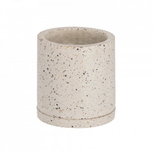 Ghiveci cu farfurioara alb din terrazzo 26 cm Lelis Kave Home