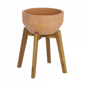 Ghiveci maro cu suport din ceramica si lemn 40 cm Subject Kave Home