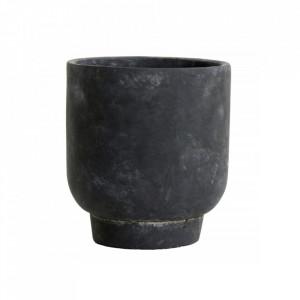 Ghiveci negru din ciment 16 cm Ivon Nordal