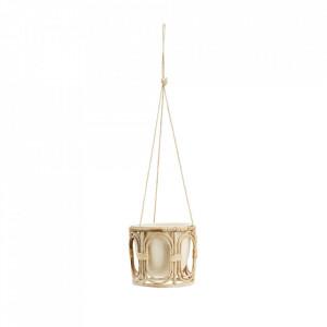 Ghiveci suspendabil crem/maro cu suport din bambus 20 cm Alva Madam Stoltz
