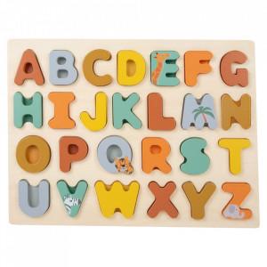 Joc tip puzzle 26 piese din lemn ABC Small Foot
