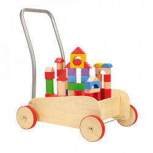 Jucarie de impins multicolora cu 52 piese din lemn Building Small Foot