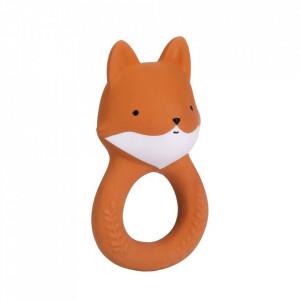 Jucarie dentitie portocalie din cauciuc natural Fox A Little Lovely Company
