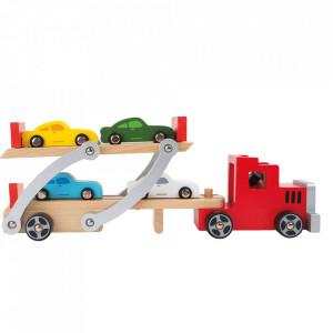 Jucarie multicolora din lemn si MDF 6 piese Car Transporter Small Foot