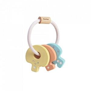 Jucarie zornaitoare multicolora din lemn Baby Pastel Key Rattle Plan Toys