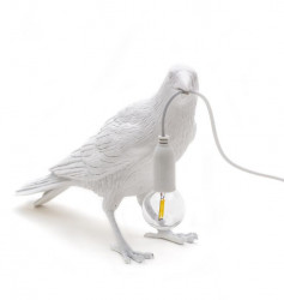 Lampa alba din rasina pentru exterior 18,5 cm Bird Waiting Seletti