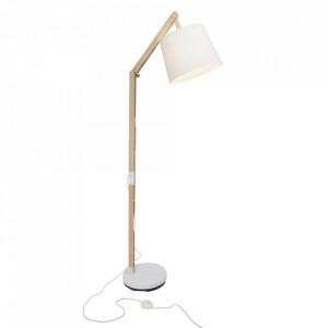Lampadar maro/alb din lemn si textil 163 cm Carlyn Brilliant