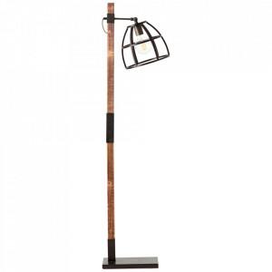 Lampadar maro/negru din lemn si metal 141 cm Matrix Brilliant