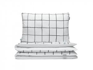 Lenjerie de pat alba din bumbac Grid Double Mumla (diverse dimensiuni)