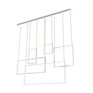 Lustra alba/argintie din metal si plastic cu 5 LED-uri Rectan Zuma Line