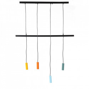 Lustra multicolora din fier si aluminiu cu 4 becuri Cuatro Zago