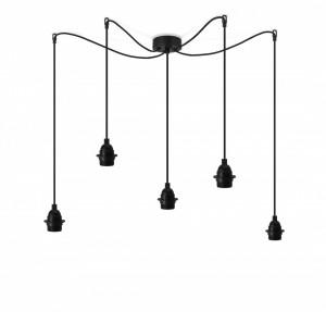 Lustra neagra din otel cu 5 becuri Uno Plus Basic Bulb Attack