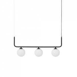 Lustra neagra din sticla si otel cu 3 becuri Catkin Custom Form