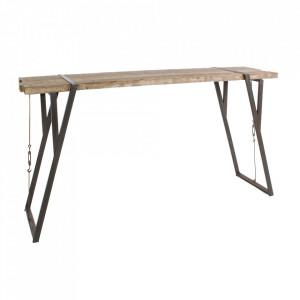 Masa bar maro din lemn de brad si otel 54x200 cm Blocks Bizzotto
