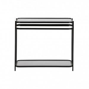 Masa cafea din metal negru si sticla 60x36 cm Kylie Woood