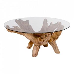 Masa cafea maro din sticla si lemn de tec 110 cm Amazonas House Nordic