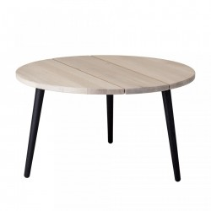Masa cafea rotunda din lemn stejar si metal 80 cm Cozy Bloomingville