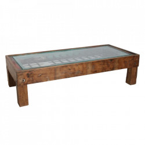 Masa de cafea maro din lemn si sticla 80x177 cm Barnsley Raw Materials
