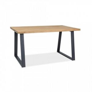 Masa din lemn de stejar si metal 90x180 cm Ronaldo Okleina Signal Meble