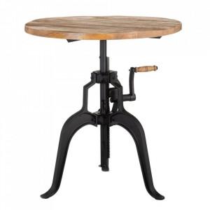 Masa dining ajustabila maro/neagra din lemn de mango si fier 75 cm Bagnoo Denzzo