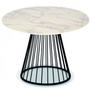 Masa dining alba/neagra din MDF si metal 110 cm Romane Opjet Paris