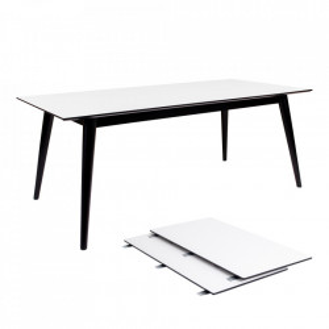 Masa dining extensibila alba/neagra din lemn de pin si MDF 90x195(285) cm Copenhagen Wavy House Nordic