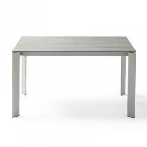 Masa dining extensibila din otel si ceramica 90x(160)240 cm Tamara Blaze All Grey Somcasa