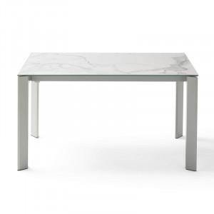 Masa dining extensibila din otel si ceramica 90x(160)240 cm Tamara Grey White Kalos Somcasa