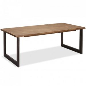 Masa dining extensibila maro din lemn de salcam si metal 100x300 cm Mallorca Furnhouse