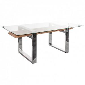 Masa dining maro/argintie din sticla si metal 105x220 cm Lulea Vical Home