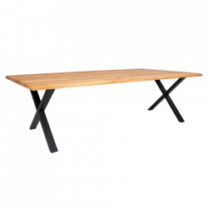 Masa dining maro deschis/neagra din lemn de stejar si otel 100x300 cm Toulon House Nordic