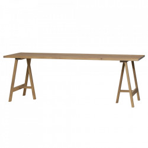 Masa dining maro din lemn de stejar 80x220 cm Prop Legs Woood