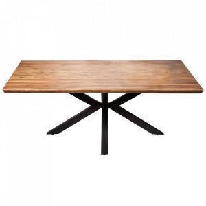 Masa dining maro/neagra din lemn de mango si metal 100x200 cm Galaxy Invicta Interior