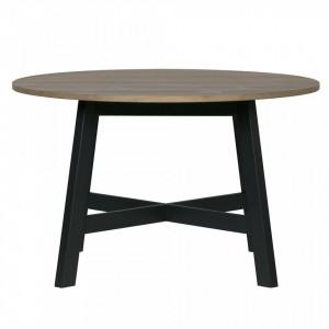 Masa dining maro/neagra din lemn de pin 120 cm Derby Woood