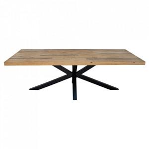 Masa dining maro/neagra din lemn de pin si metal 110x240 cm Galaxy Invicta Interior
