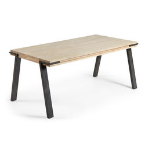 Masa dining maro/neagra din lemn de salcam si MDF 90x160 cm Thinh Kave Home